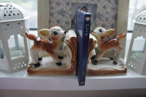 Vintage Ceramic Pair of Deer Fawn Bookends