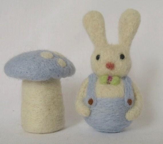 Needle Felt Boy Bunny  Rabbit - Small Rabbit Waldorf  Easter ot Spring Decor