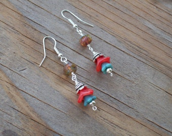 Calypso- Red and Teal Flower and Amber Crystal Earrings