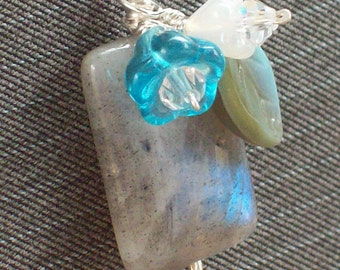 Ice Flowers- A Labradorite, Flower and Leaf Pendant