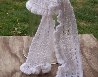 Ruffled Snowflake- A White Lace and Ruffle Scarf