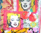 Marilyn Monroe-Art Collage-Large Paper Tag-Double Arted Marilyn