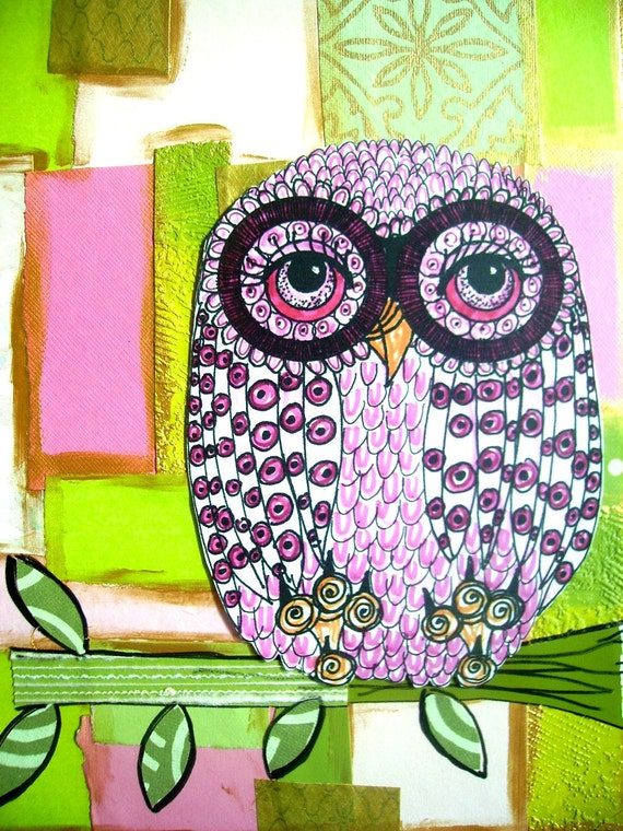 Owl Art Collage Greeting Cards-Pinkie The Owl