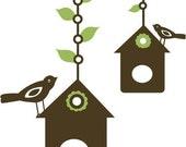 Birds and Birdhouses Vinyl Art Wall Decals