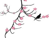 Cherry Blossom Branch and Dove at Rest Vinyl Wall Decal Art Graphic