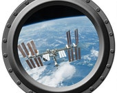 The International Space Station Seen through a Porthole Vinyl Wall Decal