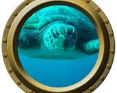 Close Up Sea Turtle Porthole Wall Decal