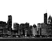 """Chicago Skyline Large Vinyl Wall Graphic - 21"""" tall x 113"""" wide"""