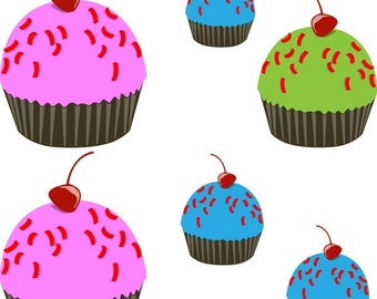 5 YUMMY Cupcake Vinyl Decals