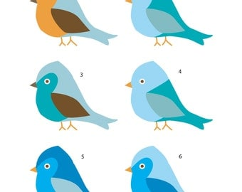 6 Wee Blue Birds Vinyl Wall Decals