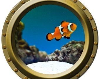 The Bright Clown Fish Porthole Vinyl Wall Decal