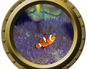 Clown Fish and Anemone Porthole Vinyl Wall Decal