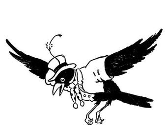 Blacky the Crow Flying 2 Vinyl Wall Decal