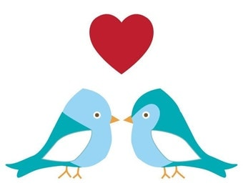 Wee Blue Birds in Love Vinyl Wall Decal Set