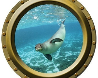 The Curious Seal - Porthole Wall Decal