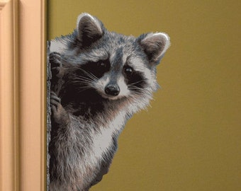 Raccoon Peering Around Wall Vinyl Decal - Varying Facings