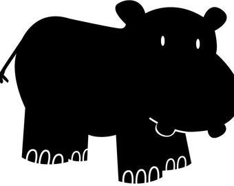 Hippo Chalkboard Vinyl Decal