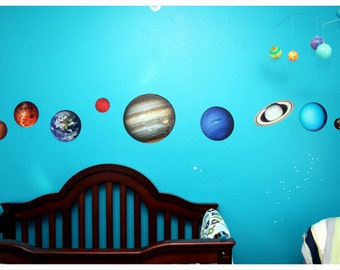 CUSTOM PHOTOTEX - Planets of Our Solar System Vinyl Wall Decal Set