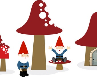 Home of the Gnomes Vinyl Wall Decal Set