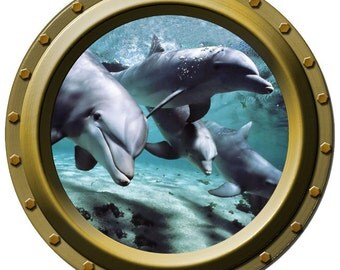 4 Curious Dolphins Porthole Wall Decal