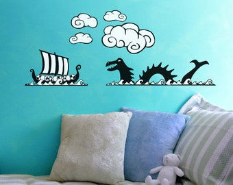 Viking Ship and Sea Serpent Wall Decal Set