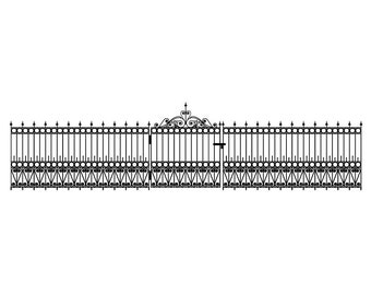 Wrought Iron Fence Wall Decal Set - 45 feet long - Includes 1 Gate Decal