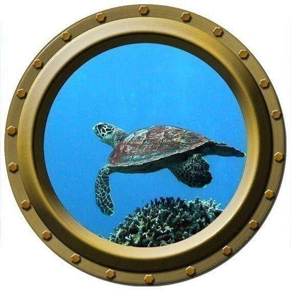 Turtle Dancer Porthole Wall Decal