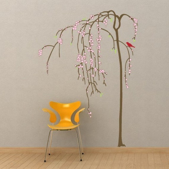 Flowering Willow Tree Full Color Wall Decal