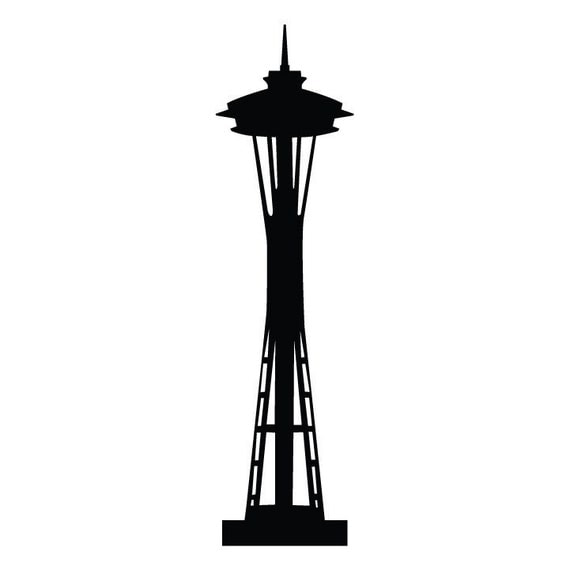 Seattle Space Needle 7 ft Tall Vinyl Wall Decal by WilsonGraphics