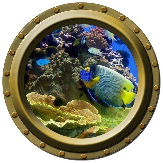 Blue and Yellow Tropical Fish Porthole Vinyl Wall Decal