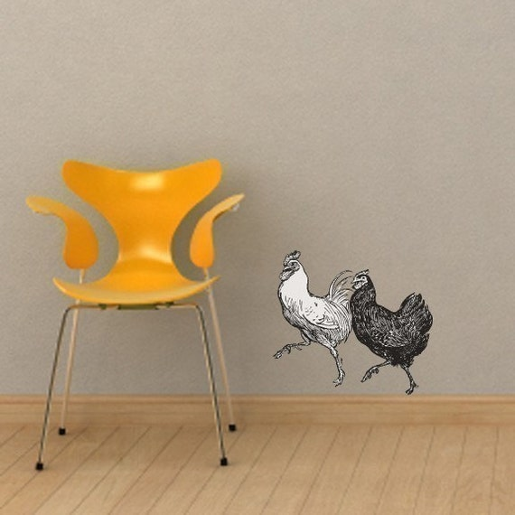Two Dancing Chickens Vinyl Wall Decal Graphic