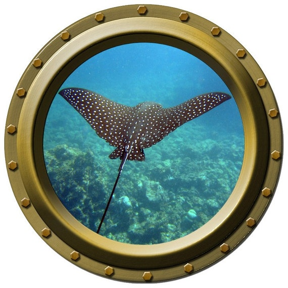 Spotted Stingray Porthole Wall Decal