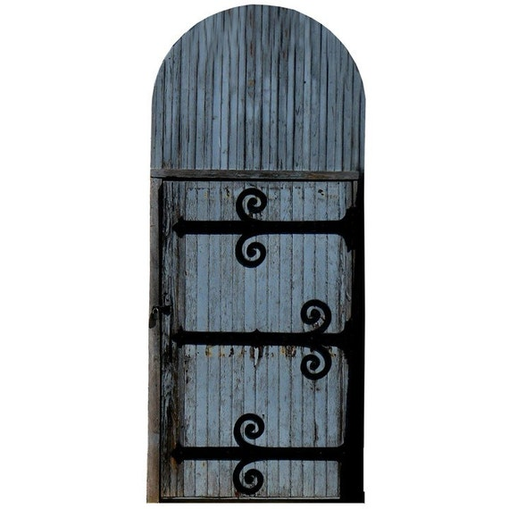 Blue fairy door with iron hinges vinyl wall by wilsongraphics for Fairy door for wall