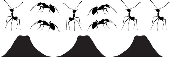 8 Ants and 3 Ant Hill Vinyl Wall Decal Set