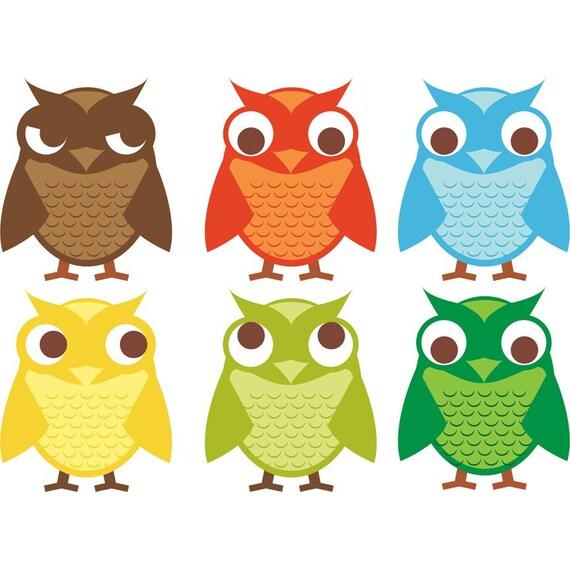 6 Owls Set of Vinyl Decals