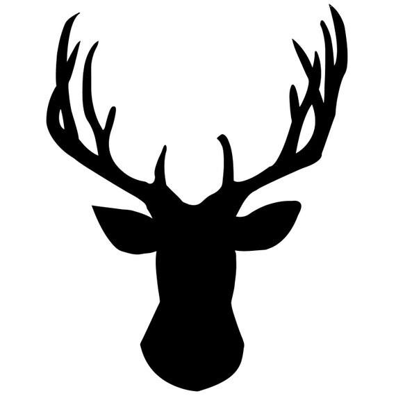 """Deer Head Chalkboard Wall Decal - 19.7"""" x 15.5"""""""