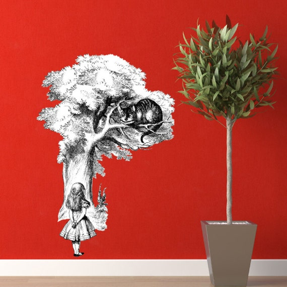 """Huge The Cheshire Cat and Alice Vinyl Wall Decal - Size: 59"""" Tall x 41"""" Wide"""