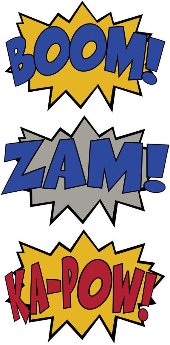 3 Comic Sound Effect Wall Decals Boom Zam Ka-Pow Style 2
