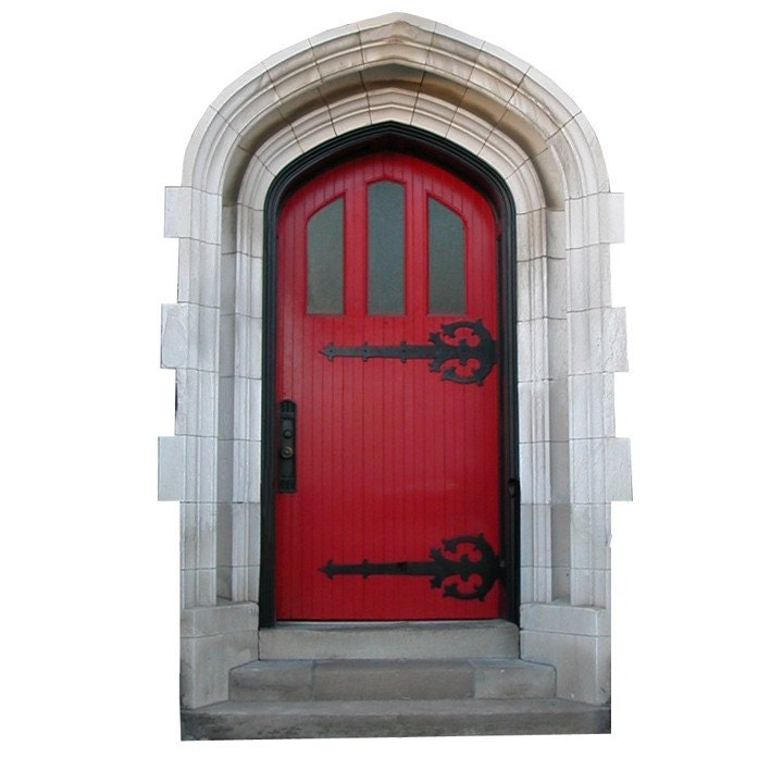Bright red fairy door vinyl wall decal by wilsongraphics for Fairy door for wall