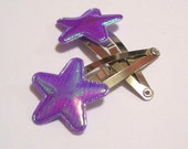 Iridescent Purple Star Barrettes Snap Clips for Lolita Harajuku Big Girls and Little