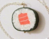 Sterling Salmon Roll Necklace Polymer Clay Sushi Miniature Food