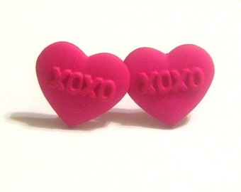 XOXO Pink Heart Post Earrings