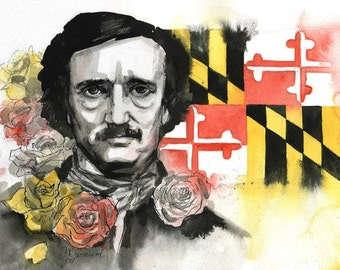 Edgar Allan Poe in MD portrait- illustration print in multiple sizes