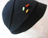 Jelly Beans - wool felt cloche with colorful jerry beans shaped beads, One of a kind