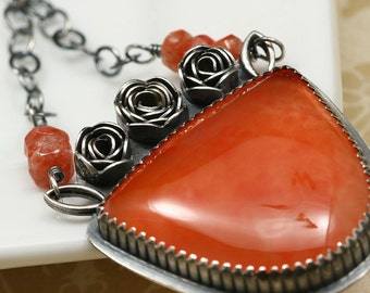 Orange Agate, Sunstone and Sterling Necklace - Sun Kissed Roses - OOAK