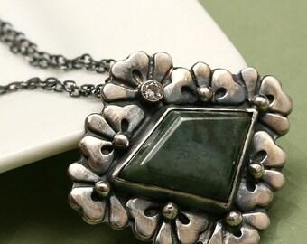 Oregon Jasper Sterling Flower Necklace