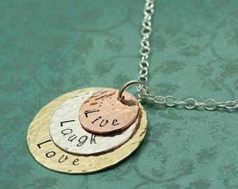 Live Laugh Love Necklace - Hand Stamped Custom Font Metal Discs
