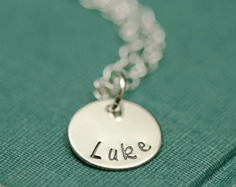 Silver Stamped Name Mother's Necklace - Small