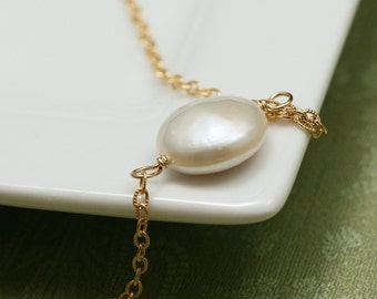 White Coin Pearl and Gold Modern Chain Necklace