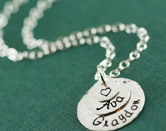 Two Name Silver Stamped Mother's Necklace with a Heart